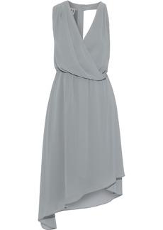 Halston Woman Asymmetric Wrap-effect Chiffon Dress Gray