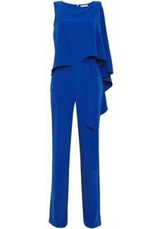 Halston Woman Belted Draped Crepe Jumpsuit Cobalt Blue