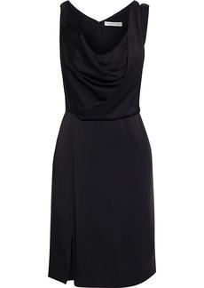 Halston Woman Cutout Draped Satin Mini Dress Black