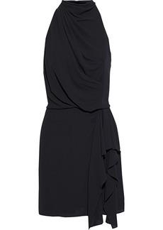 Halston Woman Draped Crepe De Chine Mini Dress Black