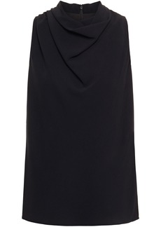Halston Woman Draped Crepe Top Black