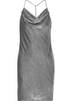 Halston Woman Draped Metallic Velvet Mini Dress White Gold