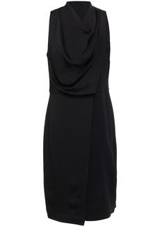 Halston Woman Draped Satin-paneled Crepe Dress Black