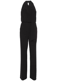 Halston Woman Draped Stretch-crepe Jumpsuit Black