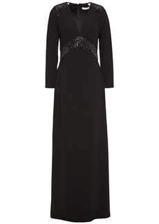 Halston Woman Embellished Tulle-paneled Stretch-crepe Gown Black