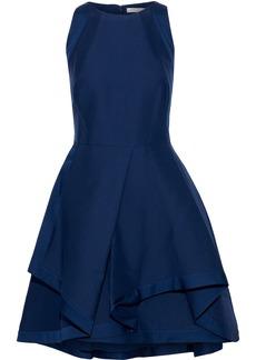 Halston Woman Flared Cotton And Silk-blend Mini Dress Navy
