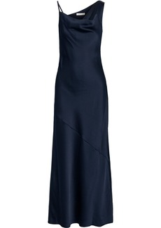Halston Woman Fluted Draped Satin Gown Midnight Blue