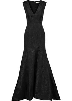Halston Woman Fluted Metallic Jacquard Gown Black
