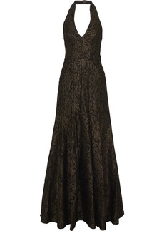 Halston Heritage Woman Fluted Metallic Lace Halterneck Gown Black