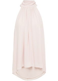 Halston Woman Gathered Crepe De Chine Top Blush