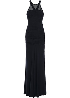 Halston Woman Georgette-paneled Cutout Ruched Crepe De Chine Gown Midnight Blue