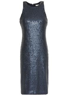 Halston Woman Glittered Sequined Jersey Dress Storm Blue