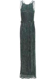 Halston Woman Metallic Plissé Crochet-knit Gown Forest Green
