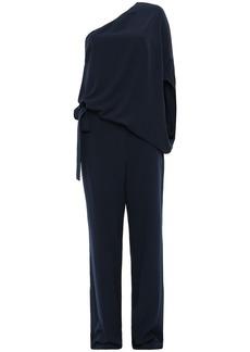 Halston Woman One-shoulder Draped Stretch-crepe Wide-leg Jumpsuit Navy