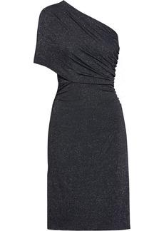 Halston Woman One-shoulder Metallic Stretch-jersey Mini Dress Black