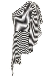 Halston Woman One-shoulder Striped Silk Crepe De Chine Top Off-white