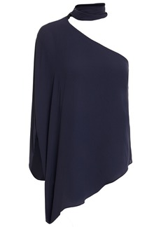 Halston Woman One-shoulder Tie-neck Crepe Top Navy