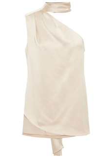 Halston Woman One-shoulder Tie-neck Satin Top Beige