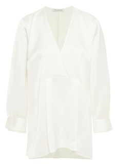 Halston Woman Pleated Satin Top Ivory