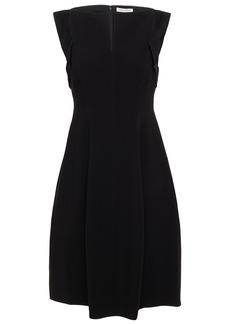 Halston Woman Satin-trimmed Crepe Dress Black