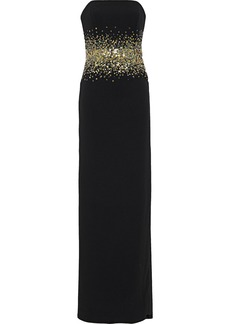 Halston Woman Sofi Strapless Bead And Sequin-embellished Crepe Gown Black