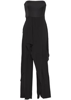 Halston Woman Strapless Layered Chiffon And Satin-crepe Jumpsuit Black