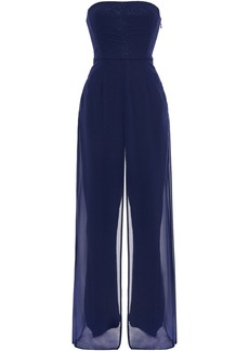 Halston Woman Strapless Layered Chiffon And Sequined Mesh Jumpsuit Navy