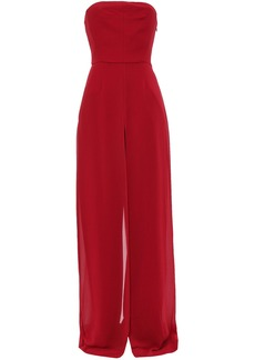 Halston Woman Strapless Layered Crepe And Georgette Wide-leg Jumpsuit Red