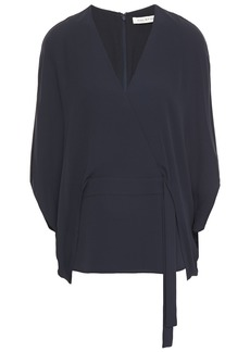 Halston Woman Wrap-effect Layered Crepe Top Midnight Blue
