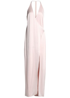 Halston Heritage Woman Wrap-effect Satin-crepe Gown Pastel Pink