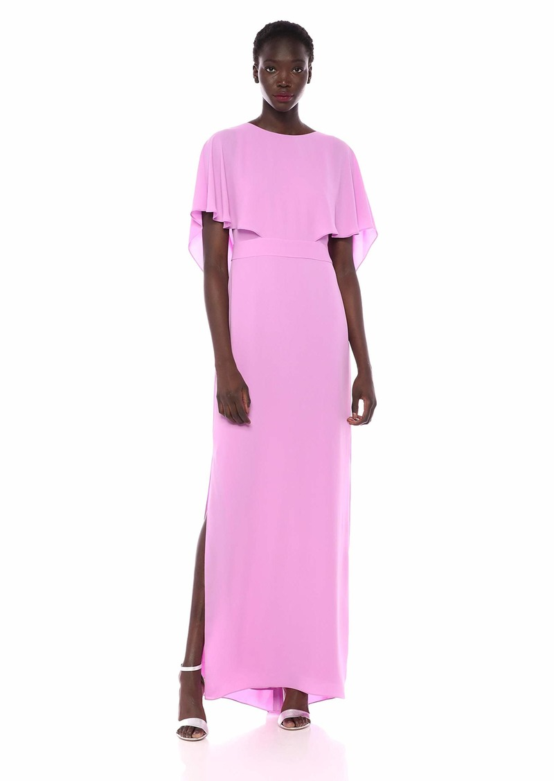 HALSTON Women's Cape Sleeve High-Neck Gown with Drape Back Detail