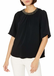 HALSTON Women's Flowy Short Sleeve Embellished Neck Silk Top