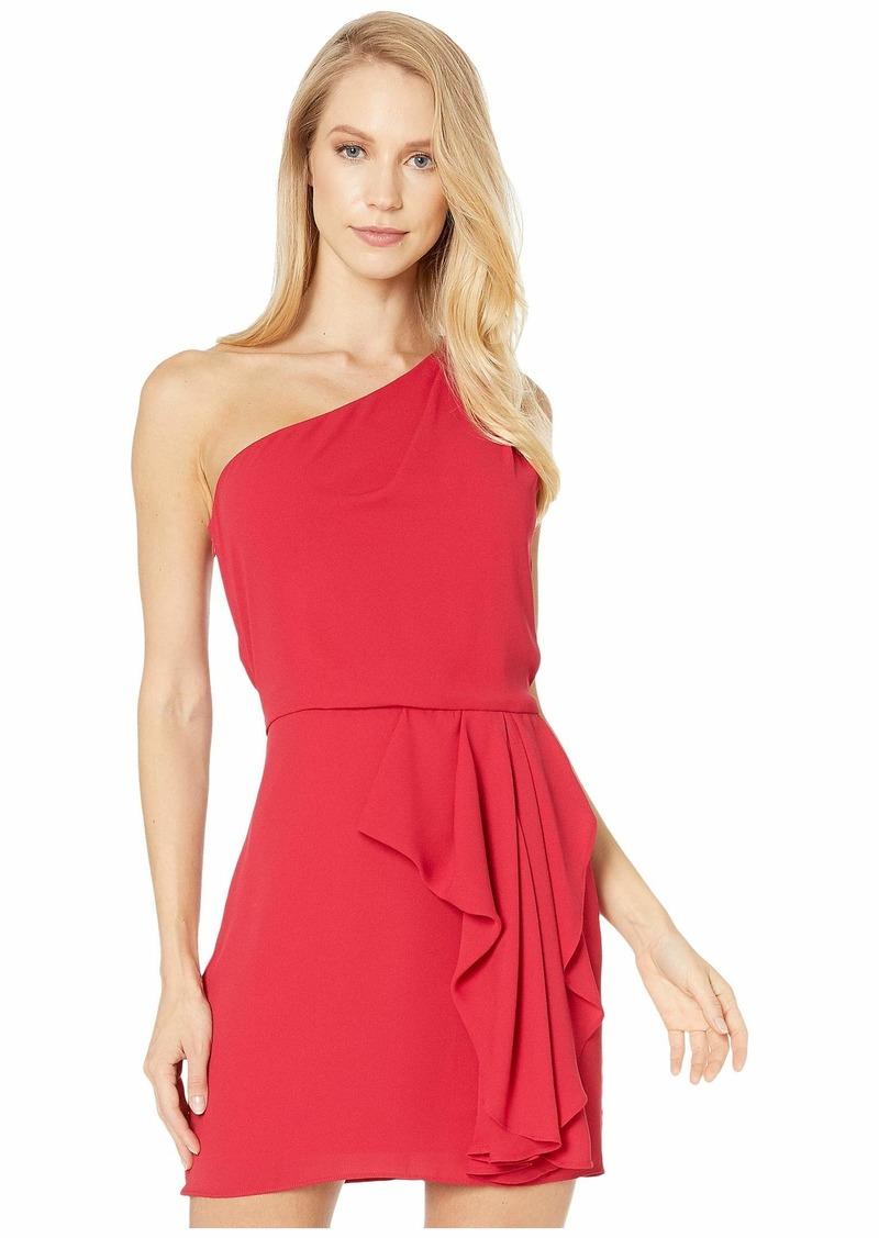 HALSTON Women's One Shoulder Drape Front Dress