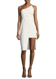 Halston Heritage Zip One-Shoulder Dress