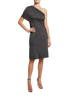 Halston Harmon Metallic One-Shoulder Dress