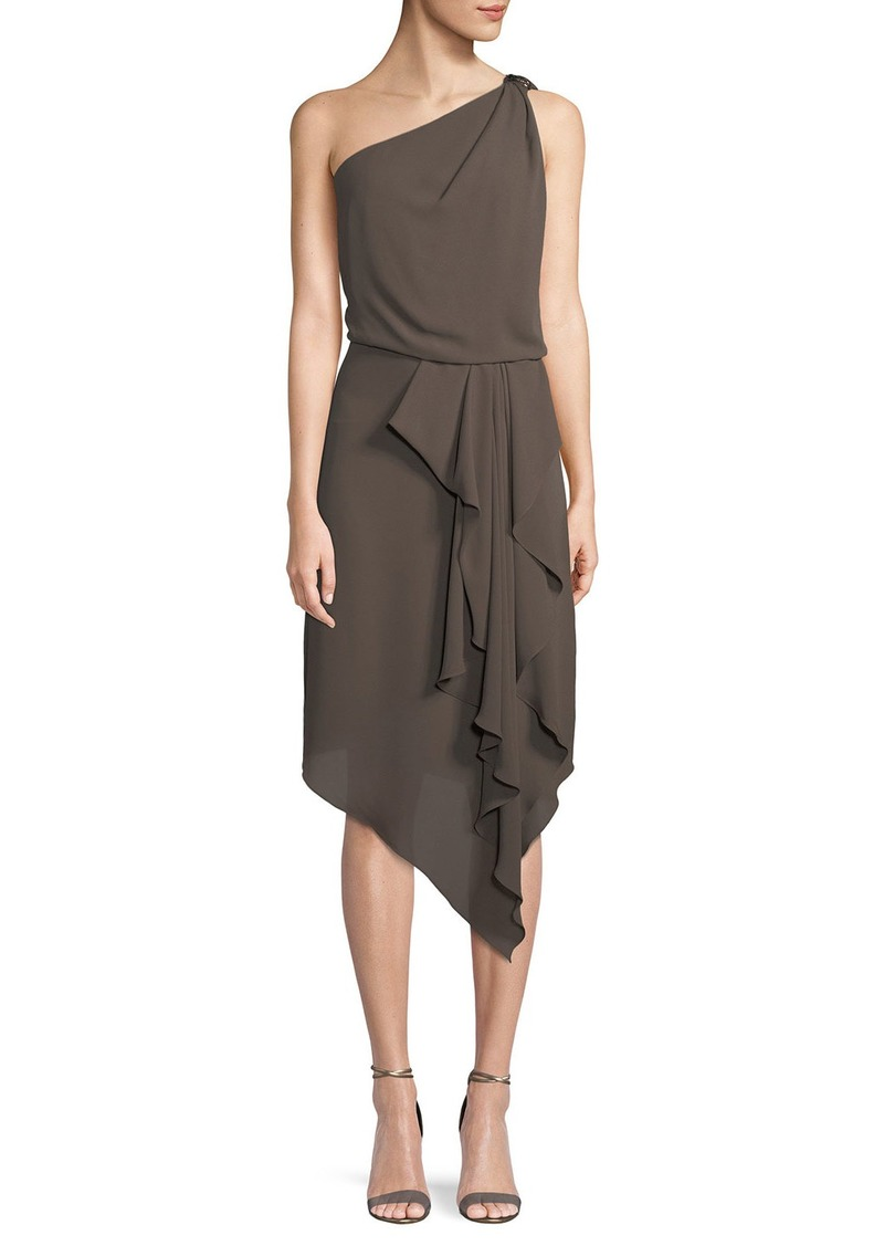 Halston Heritage Asymmetric Draped Dress