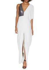 Halston Heritage Asymmetric-Sleeve Metallic-Panel Evening Gown