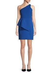 Halston Asymmetrical One-Shoulder Sheath Dress