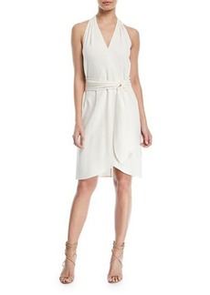 Halston Heritage Belted Knee-Length Wrap Dress