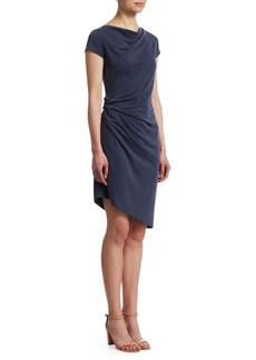 Halston Heritage Boatneck Draped Jersey Dress