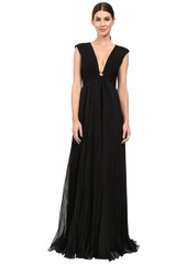 Halston Heritage Cap Sleeve Deep V-Neck Gown with Pleated Skirt