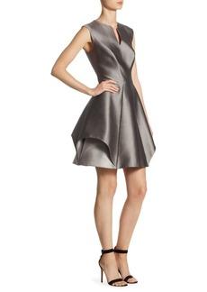 Halston Heritage Cap Sleeve Notch Fit-&-Flare Dress
