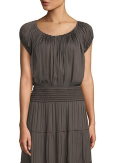 Halston Heritage Cap-Sleeve Ruched-Neck Top