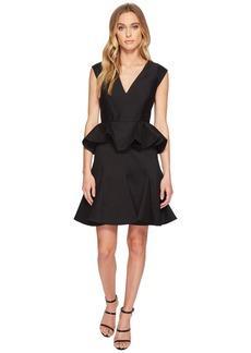 Halston Heritage Cap Sleeve V-Neck Dress w/ Peplum
