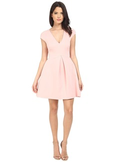 Halston Heritage Cap Sleeve V-Neck Structure Dress w/ Cut Out Back
