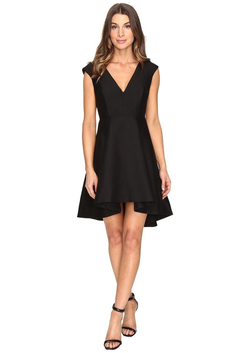 Halston Heritage Cap Sleeve V-Neck Structured Dress with Hi-Lo Skirt