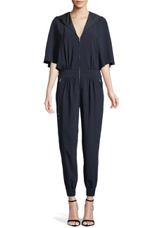 Halston Heritage Cape-Sleeve Hooded Zip Jumpsuit