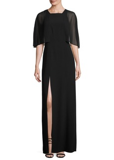 Halston Heritage Cape-Sleeve Stretch Crepe Gown  Black