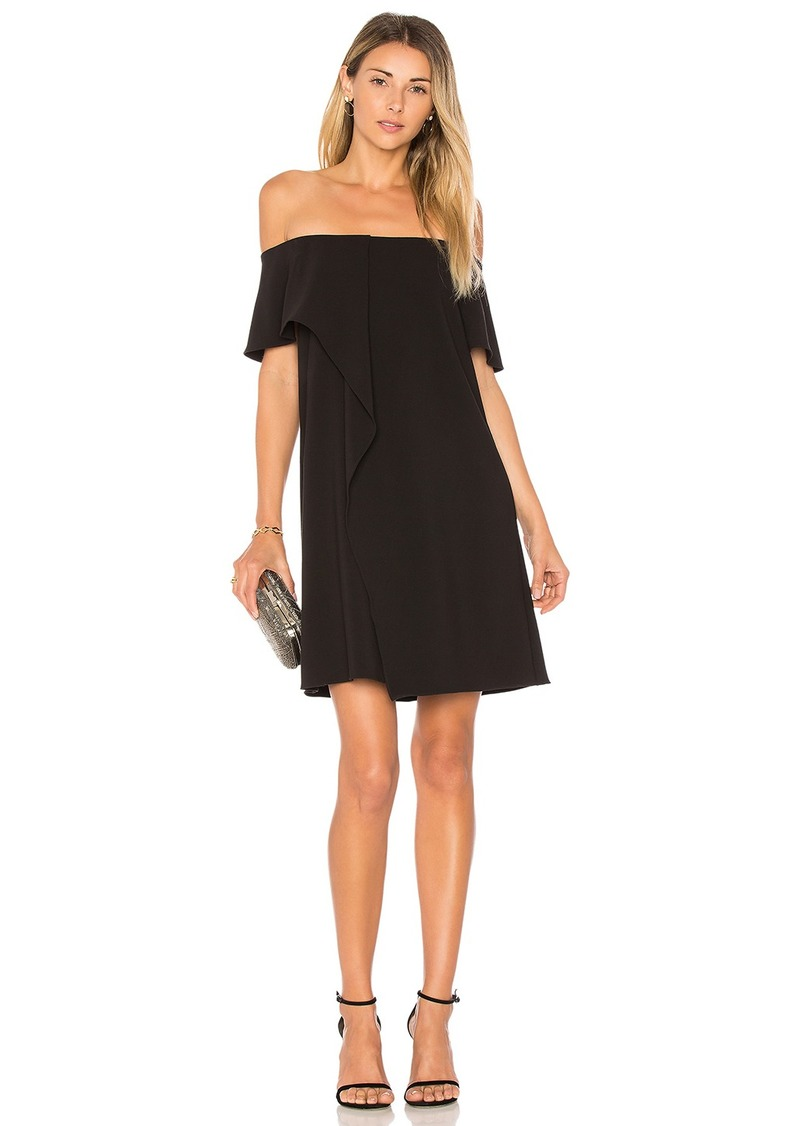 Halston Heritage Cold Shoulder Asymmetrical Drape Dress