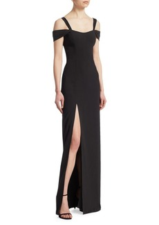 Halston Heritage Cold-Shoulder Slit Gown